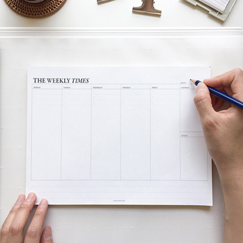 The Weekly times desk planner notepad