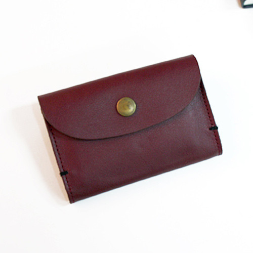 Leather small burgundy card case
