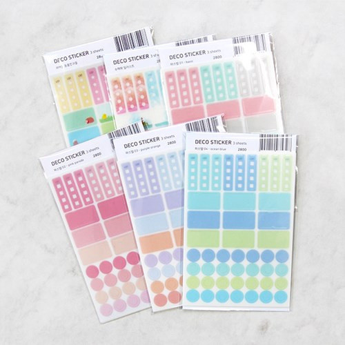 Colorful deco transparent clear sticker set