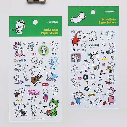 PONYBROWN Buhabear cute illustration paper sticker