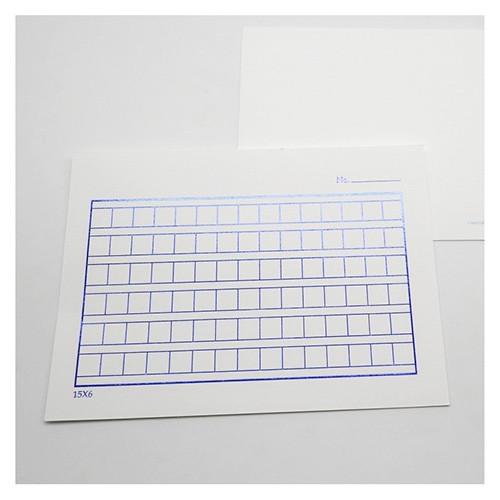 Classic blue squared manuscript paper postcard