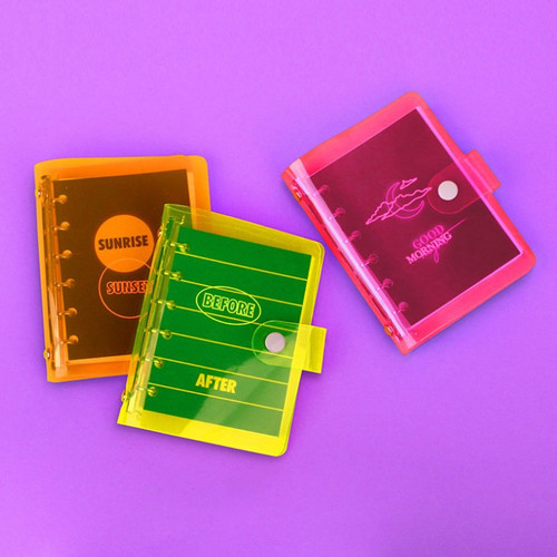 Retro 6-ring small grid notebook with neon PVC cover