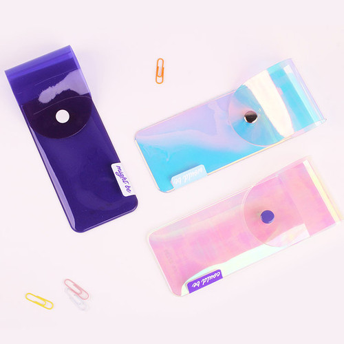 Hologram pocket jelly pencil case