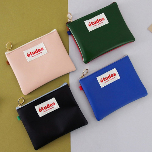 Etudes two tone color small zipper pouch