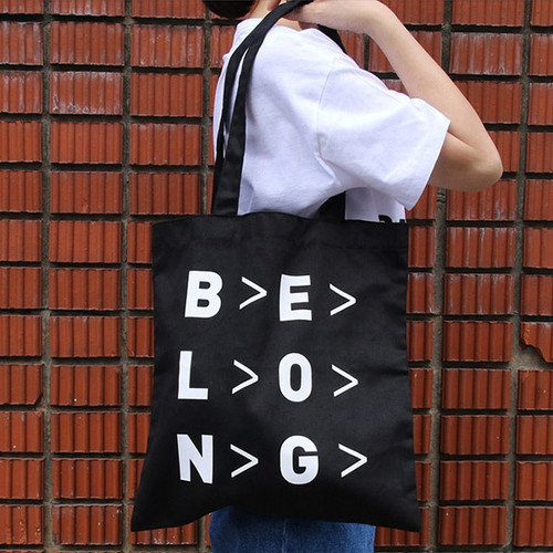 Black - Even odds cotton shoulder tote bag