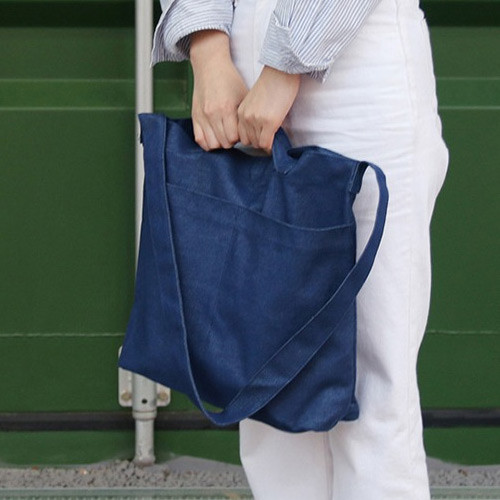 Denim blue - Etudes hobo cotton shoulder tote bag