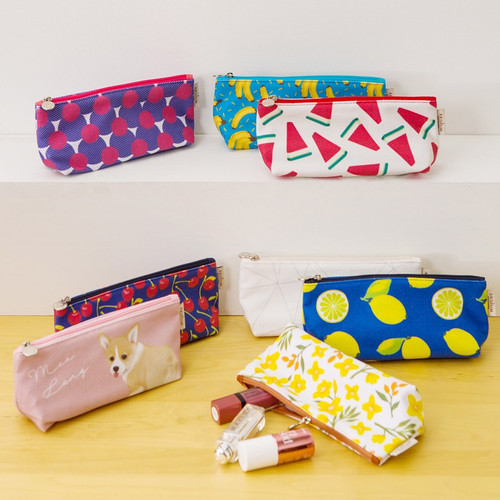 Pattern canvas zipper pouch
