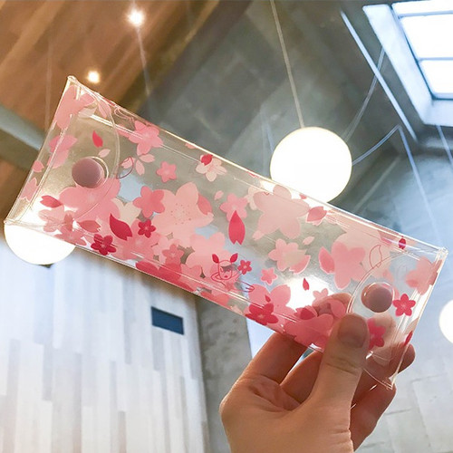 Odong et valerie cherry blossom clear folding pencil case
