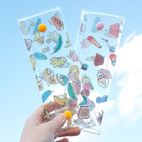 Banana and Ice cream clear folding pencil case