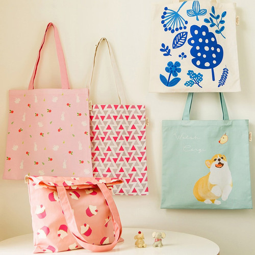 Colorful cotton canvas tote bag