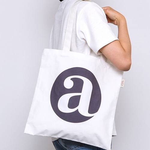 Alphabet letter A cotton canvas tote bag