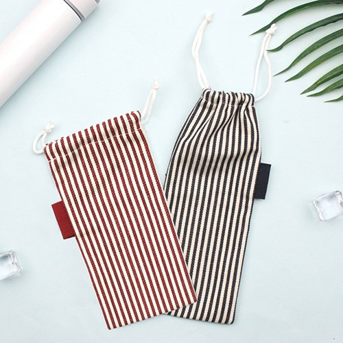 Bookfriends Stripe small drawstring pouch