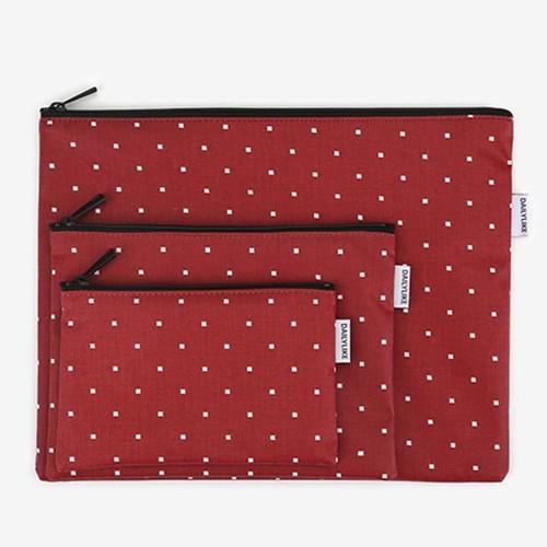 Dailylike Laminated cotton fabric zipper pouch - Red window