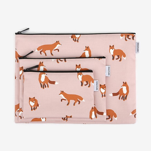 Dailylike Laminated cotton fabric zipper pouch - Winter fox
