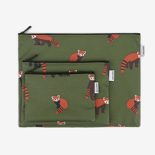 Dailylike Laminated cotton fabric zipper pouch - Lesser panda