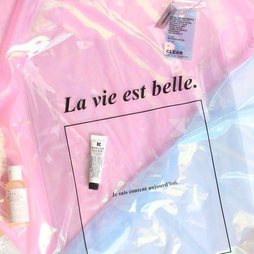 Wanna This La vie est belle PVC Clear tote bag