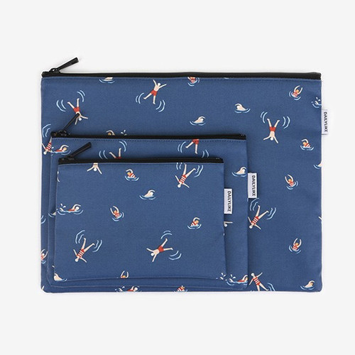Dailylike Laminated cotton fabric zipper pouch - Swimming