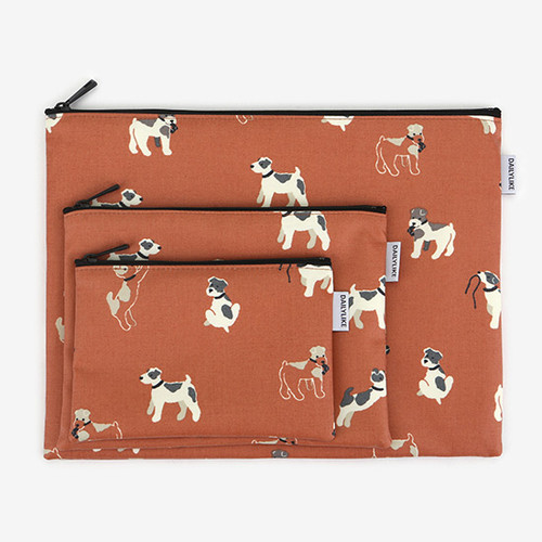 Dailylike Laminated cotton fabric zipper pouch - Fox terrier