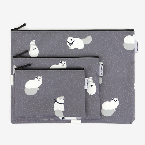 Dailylike Laminated cotton fabric zipper pouch - Persian cat