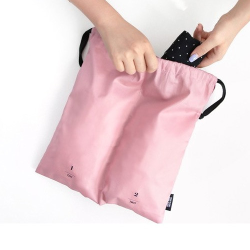 Split travel divided cotton drawstring pouch
