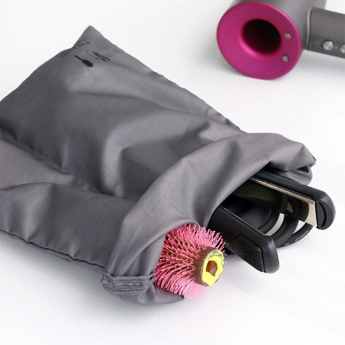 Charcoal - Split hair straightener flat iron drawstring pouch