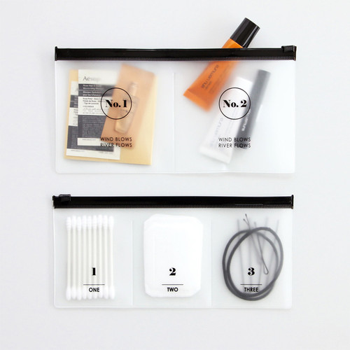 Split translucent zip lock pouch set
