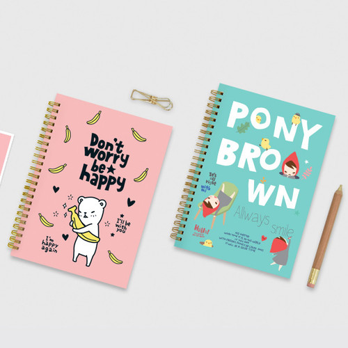 Cute illustration A5 spiral lined notebook