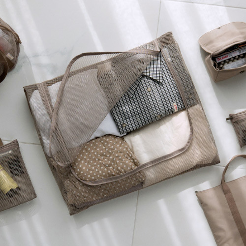 Beige - Travelus mesh packing organizer bag XXL ver3