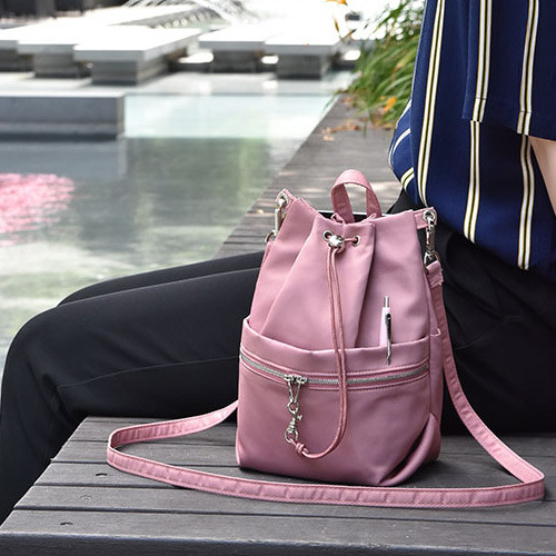 Holiday drawstring crossbody bucket bag