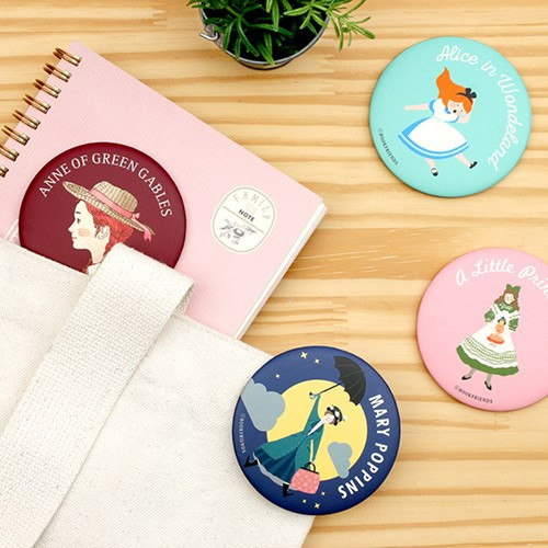 World literature round hand mirror