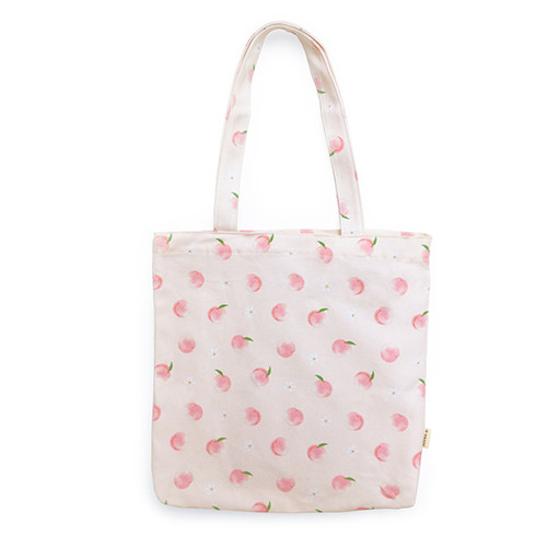 O-check Peach pattern cotton shoulder bag