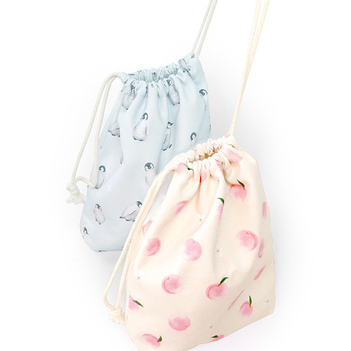 O-check Pattern large cotton drawstring pouch