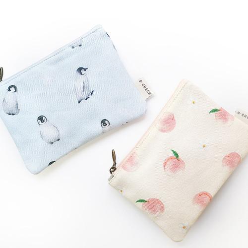 O-check Pattern small cotton flat zipper pouch
