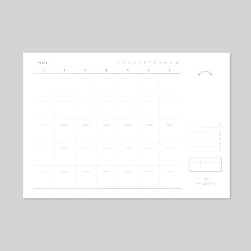 Plain undated monthly desk scheduler pad