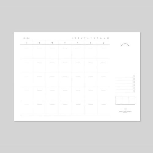 Plain undated monthly desk scheduler pad