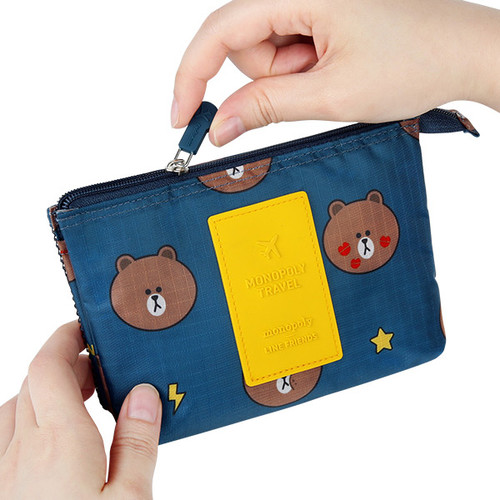 Rubber zipper slider - Line friends travel mesh small pocket pouch