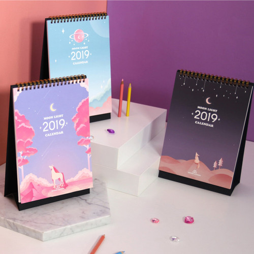 Second mansion 2019 Moonlight standing monthly desk calendar