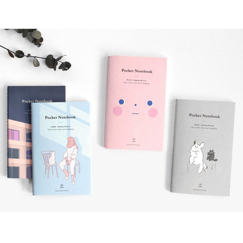 ICONIC Pocket sewn bound small plain notebook ver.2