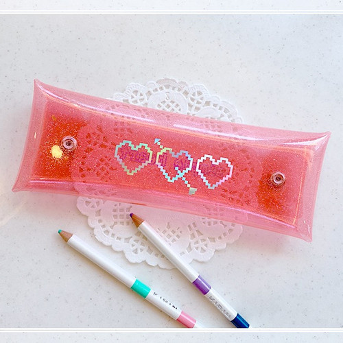 N.IVY Simple heart glitter folding pencil case