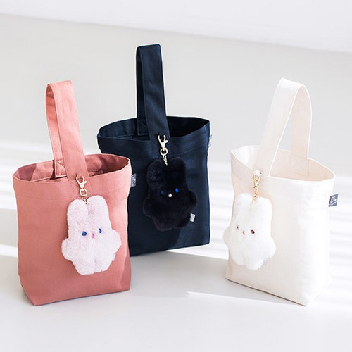 Livework Piyo popuree cotton tote bag with cute doll charm