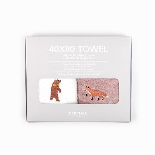 Dailylike Embroidery cotton hand towel set - Animal
