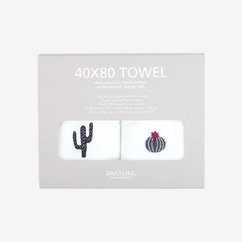 Dailylike Embroidery cotton hand towel set - Cactus