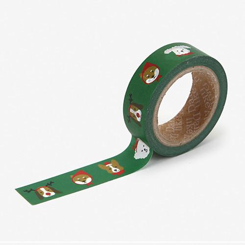 Dailylike Christmas single roll deco masking tape - Merry puppy