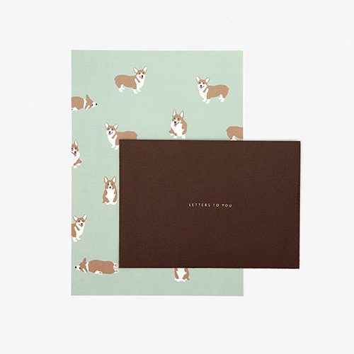 Dailylike Daily letter paper and envelope set - Welsh corgi