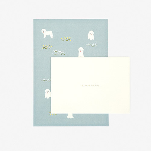Dailylike Daily letter paper and envelope set - Bichon frise