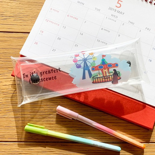 N.IVY Florescence PVC clear folding pencil case