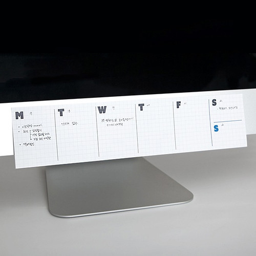 JSTORY Grid sticky dateless weekly desk planner pad