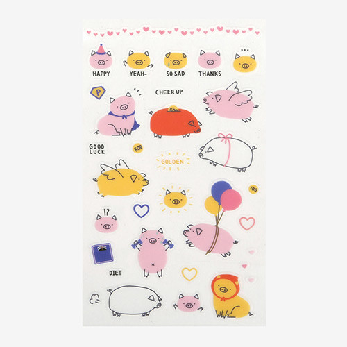 Daily transparent clear deco cute sticker - Pig