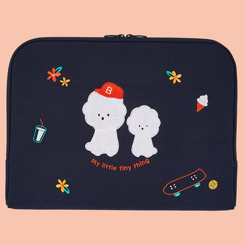 Bichon Frise boucle canvas iPad laptop pouch case