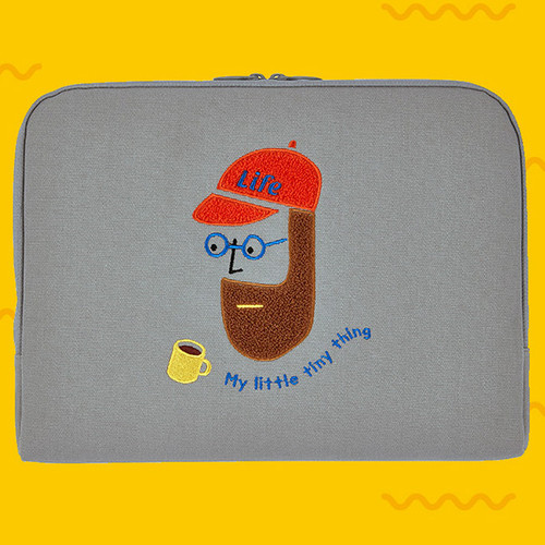 Beard man boucle canvas iPad laptop pouch case